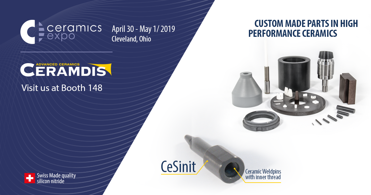 Ceramdis will be at #CeramicsExpo #CEX19,  April 30 – May 1, 2019 in Cleveland, OH. USA. Looking forward to seeing you there